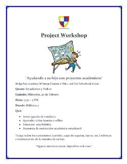 Project Workshop Tomorrow!